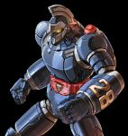 black_background clenched_hands fighting_stance glowing glowing_eyes jetpack looking_down mecha no_humans solo taedu taiyou_no_shisha_tetsujin_28-gou tetsujin_28 tetsujin_28-gou yellow_eyes