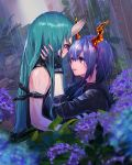 2girls arknights bangs bare_shoulders black_gloves blue_hair ch'en_(arknights) dragon_horns flower gloves green_hair hair_between_eyes hand_on_another's_face highres horns hoshiguma_(arknights) hydrangea jacket long_hair multiple_girls nimra oni_horns rain red_eyes single_horn sleeveless tears
