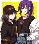 2girls :d akasata arm_around_shoulder bang_dream! baseball_cap belt black_hair black_hoodie black_shirt blue_eyes clothes_writing coat denim hair_between_eyes hand_on_hip hands_in_pockets hat hood hood_down jeans long_sleeves looking_at_viewer multiple_girls okusawa_misaki one_eye_closed open_mouth pants ponytail red_eyes seta_kaoru shirt sidelocks smile starry_background white_coat yellow_background