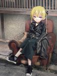1girl absurdres armchair black_choker black_footwear black_jacket black_skirt blush chair choker closed_mouth converse highres jacket kill_me_baby leather leather_jacket looking_at_viewer nadegata shoes sitting skirt solo sonya_(kill_me_baby) twintails violet_eyes