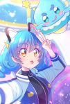 1girl animal_ears blue_hair cardigan cat_ears hair_ornament hairclip jacket juugoya_neko long_hair open_clothes open_jacket precure prunce_(precure) self_shot shiny shiny_hair star_twinkle_precure sweater tongue tongue_out turtleneck turtleneck_sweater v yellow_eyes yuni_(precure)