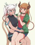 2girls :p animal_ear_fluff animal_ears bangs black_choker black_shirt blue_eyes blue_shorts borrowed_character brown_eyes brown_hair cat_ears chair choker collarbone commentary demon_tail ear_piercing english_commentary extra_ears eyebrows_visible_through_hair green_jacket hand_on_another's_shoulder hand_on_another's_waist highres horns ice_cream_cone jacket long_hair multicolored multicolored_nails multiple_girls nail_polish original pas_(paxiti) piercing ponytail red_shirt shirt short_shorts shorts sitting sitting_on_lap sitting_on_person sleeveless sleeveless_shirt smile swept_bangs tail tongue tongue_out turtleneck white_hair