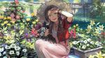 1girl aerith_gainsborough bracelet bridge brown_hair commentary cropped_jacket dirty dirty_face dress final_fantasy final_fantasy_vii final_fantasy_vii_remake flower flower_bed garden gardening hat holding holding_flower jacket jewelry lily_pad long_dress long_hair looking_at_viewer necklace open_mouth outdoors pink_dress planter red_jacket sasumata_jirou smile smudge solo squatting straw_hat sun_hat water wiping_forehead