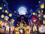 3boys 3girls aisha_landar angkor_(elsword) basket candy castle chung_seiker elsword elsword_(character) eve_(elsword) food halloween halloween_costume highres jack-o'-lantern moon multiple_boys multiple_girls official_art poker_face raven_cronwell rena_erindel scared sitting soul surprised sweat witch