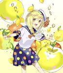 1girl apple blonde_hair bow braid food food_themed_hair_ornament fruit hair_ornament hat hat_bow highres lemon lemon_hair_ornament long_hair okutani_toro open_mouth orange orange_eyes original outstretched_arms polka_dot polka_dot_bow polka_dot_skirt sailor_collar school_uniform serafuku solo symbol_commentary twin_braids