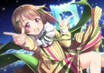 1girl :d bangs bow bridge brown_hair commentary_request dress finger_gun green_bow green_neckwear hair_bow long_sleeves love_live! love_live!_school_idol_festival_all_stars mad_(hazukiken) nakasu_kasumi neck_ribbon night open_mouth outdoors perfect_dream_project pleated_dress ribbon short_hair smile solo violet_eyes yellow_dress