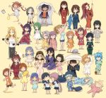 6+girls :x ahoge akagi_(kantai_collection) akebono_(kantai_collection) akishimo_(kantai_collection) animal_slippers aqua_hair asagumo_(kantai_collection) bangs blanket blonde_hair blue_flower blue_hair blunt_bangs blush brown_hair clock closed_eyes clothes_writing dressing dressing_another eyebrows_visible_through_hair fan fanning_face flower flower_pot food fujinami_(kantai_collection) furutaka_(kantai_collection) glasses gradient_hair green_hair grey_hair hair_down hat heterochromia highres huge_ahoge i-26_(kantai_collection) i-400_(kantai_collection) intrepid_(kantai_collection) isonami_(kantai_collection) japanese_clothes jintsuu_(kantai_collection) kantai_collection kicking kuma_(kantai_collection) kuroshio_(kantai_collection) light_brown_hair long_hair lying matsukaze_(kantai_collection) microphone minazuki_(kantai_collection) multicolored_hair multiple_girls nachi_(kantai_collection) naka_(kantai_collection) natori_(kantai_collection) nelson_(kantai_collection) on_back on_side ooshio_(kantai_collection) open_mouth otoufu pajamas pants paper_fan pince-nez popsicle purple_hair roma_(kantai_collection) rubbing_eyes ryuuhou_(kantai_collection) sagiri_(kantai_collection) sailor_collar samuel_b._roberts_(kantai_collection) school_uniform serafuku shiratsuyu_(kantai_collection) short_hair silver_hair simple_background sitting skirt slippers standing stomach_growling stretch stuffed_animal stuffed_shark stuffed_toy stuffed_whale sweat taigei_(kantai_collection) tank_top teruzuki_(kantai_collection) tsushima_(kantai_collection) twintails two_side_up uranami_(kantai_collection) ushio_(kantai_collection) weightlifting yellow_background yuudachi_(kantai_collection) yuugumo_(kantai_collection)