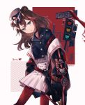 1girl 217sian absurdres alternate_costume animal_ears arknights bangs bear_ears black_choker black_headwear black_sailor_collar blue_eyes brown_hair brown_jacket cardigan character_name choker feet_out_of_frame fur-trimmed_jacket fur_trim hat head_tilt highres jacket long_hair long_sleeves looking_at_viewer multicolored_hair open_clothes open_jacket peaked_cap redhead sailor_collar signature solo streaked_hair traffic_light white_background white_cardigan zima_(arknights)