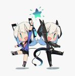 2girls :d arm_up black_gloves black_pants black_shorts blue_eyes bracer chibi commentary digitan_(porforever) dual_persona electric_plug english_commentary fang gloves headphones highres intertwined_tails long_hair multiple_girls open_mouth original pants pointing pointing_up porforever short_shorts shorts simple_background smile standing standing_on_one_leg star_(symbol) symbol-shaped_pupils tail v-shaped_eyebrows white_background white_hair |_| ||_||