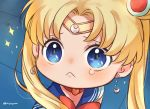 1girl :< artist_name bangs bishoujo_senshi_sailor_moon blonde_hair blue_eyes blue_sailor_collar blush chibi choker closed_mouth commentary crescent crescent_earrings derivative_work diadem earrings eyelashes hair_over_shoulder heart heart_choker jewelry jiyuu_(xjuyux) long_hair meme parted_bangs raised_eyebrows red_choker sailor_collar sailor_moon sailor_moon_redraw_challenge screencap_redraw solo sparkle twintails upper_body