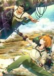 1boy 1girl absurdres bad_leg black_hair blue_eyes braid braided_ponytail clenched_hand decadence_(anime) green_pants ground_vehicle highres holding holding_weapon kaburagi_(decadence) midair military military_vehicle motor_vehicle natsume_(decadence) orange_hair outdoors outstretched_arm outstretched_hand pants prosthesis prosthetic_arm scar shirt short_hair smile tank weapon white_shirt wristband zephx