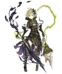 1boy ahoge bandages belt belt_buckle black_gloves boots buckle capelet chain dual_wielding full_body fur_trim gloves gold_trim green_eyes green_hair holding ji_no knee_boots long_coat looking_at_viewer official_art pigeon-toed pinocchio_(sinoalice) sinoalice solo sword tongue tongue_out transparent_background weapon