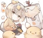 1girl animal bangs bird black_pants blush brown_hoodie chibi chick chicken chopsticks closed_mouth commentary_request cracked_egg egg eggshell eyebrows_visible_through_hair grey_eyes grey_hair holding holding_chopsticks hood hood_down hoodie kotatu_(akaki01aoki00) original pants refrigerator sitting solo white_background