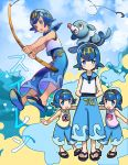3girls absurdres age_difference bangs blue_eyes blue_hair blue_pants blue_sailor_collar blush bomhat character_name character_print commentary fishing_hook fishing_rod freckles gen_1_pokemon gen_7_pokemon gold_hairband hairband highres holding holding_fishing_rod hou_(pokemon) looking_at_viewer multiple_girls one-piece_swimsuit open_mouth outstretched_arms pants pokemon pokemon_(anime) pokemon_(creature) pokemon_sm_(anime) popplio sailor_collar sandals shellder shirt short_hair siblings sisters sleeveless slowpoke sui_(pokemon) suiren_(pokemon) swimsuit swimsuit_under_clothes teeth toes tongue upper_teeth water wishiwashi wishiwashi_(solo)