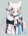 1girl animal_ears bangs black_choker blue_background braid choker commentary_request dog_tags eyebrows_visible_through_hair fox_ears fox_girl fur-trimmed_jacket fur_trim hair_between_eyes hair_ornament hairclip highres hololive inre_kemomimi jacket long_hair looking_at_viewer open_clothes open_jacket shirakami_fubuki shirt sidelocks signature simple_background single_braid solo twintails virtual_youtuber white_jacket white_shirt