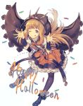 1girl :p adapted_costume bangs belt blonde_hair blue_eyes blue_sailor_collar boots bow bowtie bracer cagliostro_(granblue_fantasy) candy cloak eyebrows_visible_through_hair fingernails food frilled_skirt frills full_body granblue_fantasy halloween highres hood hood_up kotoribako long_hair looking_at_viewer nail_polish one_eye_closed orange_bow orange_nails orange_neckwear orange_skirt pantyhose puffy_short_sleeves puffy_sleeves purple_footwear purple_legwear sailor_collar school_uniform serafuku short_sleeves skirt solo suspender_skirt suspenders tongue tongue_out white_background