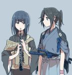 2girls alternate_costume bangs blue_background blue_eyes blue_hair blue_ribbon blush bow brown_eyes clarinet closed_mouth commentary_request eyebrows_visible_through_hair grey_hair hair_between_eyes hibike!_euphonium holding holding_instrument instrument japanese_clothes kasaki_nozomi katana kimono liz_to_aoi_tori long_hair long_sleeves looking_at_another multiple_girls ponytail ree_(re-19) ribbon short_sleeves sidelocks simple_background smile standing sword upper_body weapon wide_sleeves wristband yoroizuka_mizore
