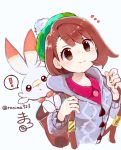 ! ... 1girl bananamin bangs blush brown_eyes brown_hair cardigan closed_mouth commentary_request dress eyebrows_visible_through_hair eyelashes gen_8_pokemon green_headwear grey_cardigan holding holding_strap pink_dress pokemon pokemon_(creature) pokemon_(game) pokemon_swsh scorbunny short_hair smile spoken_exclamation_mark starter_pokemon tam_o'_shanter yuuri_(pokemon)