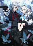 1boy 1girl absurdres ahoge animal_ears armpits bangs black_shorts black_suit blue_neckwear braid child cno collared_shirt commentary_request detached_sleeves earrings eyebrows_visible_through_hair fox_ears fox_girl fox_tail glasses gloves green_eyes grey_hair grey_shirt gun hair_between_eyes highres holding holding_gun holding_weapon hololive jewelry long_hair looking_at_viewer neckerchief necktie open_mouth original oruyanke_(fubuki_channel) outstretched_arm pentagram pointing red_neckwear shirakami_fubuki shirt short_shorts shorts sidelocks single_braid sitting sitting_on_lap sitting_on_person sleeveless sleeveless_shirt tail weapon white_gloves white_hair white_shirt yellow_eyes
