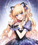 1girl :d animal_ears bangs black_choker black_gloves black_nails blue_eyes blush bow cat_ears choker clenched_hands collarbone commentary constellation dress ear_piercing earrings english_commentary fake_animal_ears fang fingerless_gloves frilled_gloves frills gloves hair_bow hands_up highres jewelry kakon long_hair looking_at_viewer nail_polish navy_blue_bow navy_blue_dress open_mouth piercing print_dress puffy_short_sleeves puffy_sleeves seeu short_sleeves sidelocks smile solo star_(symbol) star_chart star_earrings star_print two_side_up very_long_hair vocaloid wavy_hair