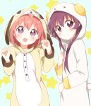 2girls :d absurdres akaza_akari animal_costume bangs blue_background blush closed_mouth commentary_request dog_costume eyebrows_visible_through_hair goat_costume hand_up hands_up highres hood hood_up looking_at_viewer mesushio multiple_girls open_mouth outline pajamas purple_hair redhead short_hair smile standing starry_background sugiura_ayano violet_eyes white_outline yuru_yuri