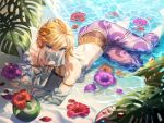 1boy absurdres ass barefoot blonde_hair blue_eyes crossdressing detached_sleeves flower gerudo_link hibiscus highres huge_filesize link looking_at_viewer lying mouth_veil ninto on_side otoko_no_ko palm_leaf pointy_ears shade solo the_legend_of_zelda the_legend_of_zelda:_breath_of_the_wild toes water wet