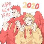 2020 2boys ? beard blonde_hair blue_eyes boku_no_hero_academia deavor_lover facial_hair feathered_wings feathers happy_new_year hawks_(boku_no_hero_academia) hood hoodie looking_at_another male_focus manly multiple_boys mustache new_year redhead scar spiky_hair todoroki_enji upper_body wings