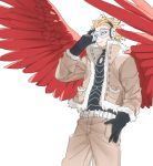 1boy beard blonde_hair boku_no_hero_academia coat deavor_lover facial_hair feathered_wings feathers gloves hawks_(boku_no_hero_academia) male_focus red_wings solo upper_body white_background wings yellow_eyes