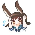 1girl akoya_(anoko_konoko) animal_ears blush brown_eyes brown_hair chibi fubuki_(kantai_collection) kantai_collection kemonomimi_mode lowres medium_hair rabbit_ears sailor_collar smile solo sweatdrop symbol_commentary wavy_mouth