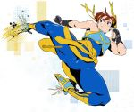 1girl black_gloves blue_bodysuit bodysuit book_jackson chun-li clothes_around_waist commentary double_bun english_commentary fingerless_gloves flying_kick full_body gloves hair_ribbon jumping kicking motion_blur padded_gloves ribbon shoes shorts skin_tight sleeveless smile sneakers socks solo spandex street_fighter street_fighter_zero_(series) studded_bracelet sweater_around_waist thick_thighs thighs twitter_username vest yellow_legwear yellow_ribbon yellow_shorts