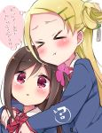 >_< 2girls :t ? blazer blonde_hair blue_jacket blush bow brown_hair closed_eyes closed_mouth collared_shirt commentary_request eyebrows_visible_through_hair flower forehead hair_between_eyes hair_flower hair_ornament hairpin hitori_bocchi hitoribocchi_no_marumaru_seikatsu hug hug_from_behind jacket long_hair looking_at_viewer multiple_girls red_bow red_eyes school_uniform shirt simple_background sk02 sotoka_rakita spoken_question_mark thought_bubble translation_request white_background white_shirt