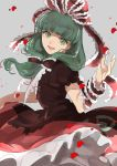 1girl bangs bow dress flower frilled_ribbon frills front_ponytail green_eyes green_hair grey_background hair_bow hair_ornament hair_ribbon highres joniko1110 kagiyama_hina long_hair looking_at_viewer petals red_dress ribbon rose_petals simple_background smile solo spinning standing touhou wind