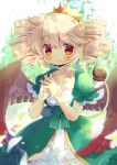 1girl bangs blonde_hair blush bow brown_wings character_request closed_mouth collarbone commentary_request commission crown dress drill_hair eyebrows_visible_through_hair feathered_wings green_bow green_dress hair_between_eyes hands_up interlocked_fingers kouu_hiyoyo puffy_short_sleeves puffy_sleeves puyopuyo_quest red_eyes short_sleeves sidelocks smile solo tail tail_raised twin_drills wings