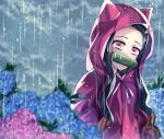 1girl animal_ears black_hair blue_flower brown_hair clouds cloudy_sky coat fake_animal_ears flower hair_ribbon hood hood_up hooded_coat hydrangea kamado_nezuko kimetsu_no_yaiba long_hair looking_at_viewer mady_(madine08260) pink_eyes pink_flower pink_ribbon rain red_coat ribbon shiny shiny_hair sky solo upper_body