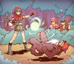 animal_costume bandana bangs basket black_gloves black_hair blonde_hair blue_eyes blue_hair clark_still cosplay dress eyepatch food forest gloves grandma green_jacket gun haginoco hat heidern jacket leona_heidern little_red_riding_hood_(grimm) little_red_riding_hood_(grimm)_(cosplay) multiple_persona nature pink_dress ralf_jones red_hood rifle soldier sunglasses the_king_of_fighters weapon wolf_costume