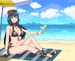 1girl artist_name beach beach_towel bikini black_bikini blue_eyes blue_hair byleth_eisner_(female) cape clouds cute drink drinking_glass fire_emblem fire_emblem:_fuukasetsugetsu fire_emblem:_three_houses fire_emblem_16 fire_emblem_heroes flower flower_hair_ornament flower_on_head hibiscus holding_drinking_glass intelligent_systems lemon moe mountain navel nintendo ocean sandals short_hair sitting sky smile solo super_smash_bros. super_smash_bros._ultimate sword umbrella weapon woglancer