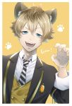 1boy absurdres animal_ears bangs blazer blonde_hair blue_eyes border brown_hair buttons claw_pose collared_shirt commentary diagonal-striped_neckwear diagonal_stripes face fangs gem hair_between_eyes hand_up highres hyena_boy hyena_ears jacket kinaco_4738 long_sleeves looking_at_viewer male_focus necktie open_mouth orange_background paw_print ruggie_bucchi shirt smile solo striped striped_neckwear teeth twisted_wonderland upper_body vest white_border