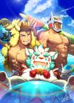3boys abs agyo_(tokyo_houkago_summoners) algernon_(tokyo_houkago_summoners) ball bara beard blue_eyes brown_hair chest clouds day english_text facial_hair fang food fruit furry gullinbursti_(tokyo_houkago_summoners) hat helmet holding holding_ball looking_at_viewer male_focus manly multiple_boys muscle navel nipples on_shoulder open_mouth outdoors pectorals red_eyes signature sitting sky smile standing star_(symbol) swimsuit teeth tokyo_houkago_summoners umbrella umbrella_on_arm veins waku_(ayamix) watermelon wet yellow_sclera