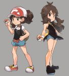 ayumi_(pokemon) backpack bag baseball_cap black_shirt blue_(pokemon) breasts brown_eyes brown_hair closed_mouth hat holding long_hair looking_at_viewer multiple_girls nyonn24 poke_ball pokemon pokemon_(game) pokemon_lgpe ponytail shirt short_hair short_shorts shorts simple_background smile