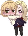 1boy 1girl :t avery_braeden blackwater blonde_hair blush carrying chibi couple green_eyes holding_another landis_grandinyr long_hair looking_away original pouting short_hair shy smile suit tsundere violet_eyes wavy_hair