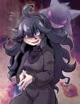 1girl @_@ ahoge bangs behind_another black_dress black_hair blush commentary_request dress embarrassed flying_sweatdrops gen_1_pokemon gengar ghost grin hair_ornament hairband hex_maniac_(pokemon) highres long_hair long_sleeves looking_at_another looking_to_the_side messy_hair nose_blush npc_trainer open_mouth own_hands_together pokemon pokemon_(creature) purple_hairband purple_sclera ribbed_sweater smile spiral_eyes sweat sweater takura_mahiro teeth violet_eyes wavy_mouth