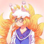 animal_ears blonde_hair blush fox_ears fox_tail glasses hands_in_opposite_sleeves hat kitsune lanalopez92 multiple_tails pillow_hat short_hair tail touhou yakumo_ran