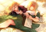 2girls absurdres arte arte_(character) blonde_hair day dress green_dress highres looking_at_another lying multiple_girls on_side paper pillow pipe ririri short_hair sleeping sunlight veronica_(arte) yuri