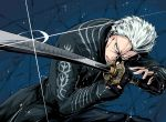 1boy beige_eyes black_coat black_gloves coat commentary_request devil_may_cry devil_may_cry_5 fingerless_gloves glint gloves highres holding holding_sword holding_weapon katana long_sleeves male_focus parted_lips shimure_(460) solo spiky_hair sword teeth vergil weapon white_hair