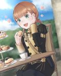 1girl annette_fantine_dominic blue_legwear blue_sky cake chair clouds cookie cup day eating fire_emblem fire_emblem:_three_houses food garreg_mach_monastery_uniform green_eyes holding long_sleeves macaron open_mouth orange_hair sitting sky solo table teacup twintails uniform waaaaalala