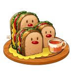 bread cheese cup derivative_work drink dugtrio english_commentary food gen_1_pokemon lettuce no_humans pokemon pokemon_(creature) pokemon_(game) pokemon_cafe_mix sandwich shiny simple_background studiolg tea teacup tomato tray white_background