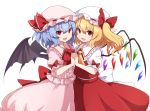 2girls back_bow bat_wings blonde_hair blue_hair bow crystal eyebrows_visible_through_hair fang flandre_scarlet frills hat hat_ribbon highres holding_hands interlocked_fingers looking_at_viewer medium_hair mob_cap multiple_girls open_mouth pink_headwear pink_shirt pink_skirt puffy_short_sleeves puffy_sleeves red_bow red_eyes red_neckwear red_ribbon red_skirt red_vest remilia_scarlet ribbon rizento shirt short_sleeves siblings side_ponytail simple_background sisters skirt smile touhou upper_body vest white_background white_bow white_headwear white_shirt wings yellow_neckwear
