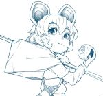 1girl :i animal_ears dowsing_rod eating food food_on_face from_side furoshiki greyscale hand_up holding holding_food long_sleeves looking_at_viewer looking_back monochrome mouse_ears nazrin onigiri raised_eyebrows rice rice_on_face shima_(landsuzume) shirt short_hair simple_background solo thermos touhou upper_body white_background