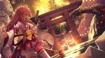 1girl absurdres ahoge ark_survival_evolved bell bow breasts clouds cloudy_sky commentary cowboy_shot detached_sleeves dragon fireworks floral_print green_eyes gun handgun highres hip_vent holding holding_gun holding_weapon hololive long_hair looking_at_viewer medium_breasts miniskirt monster namako_(namacotan) nontraditional_miko open_mouth outdoors outstretched_arm pink_hair red_skirt sakura_miko sideboob skirt sky smile solo thigh-highs thighs torii virtual_youtuber weapon white_legwear wide_sleeves yellow_bow