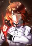 1girl absurdres ahoge bangs black_gloves chaldea_uniform closed_mouth command_spell commentary_request crossed_bangs fate/grand_order fate_(series) fujimaru_ritsuka_(female) glove_pull gloves glowing glowing_hand hair_between_eyes highres jacket looking_at_viewer medium_hair orange_eyes orange_hair shibao_aoyama white_jacket